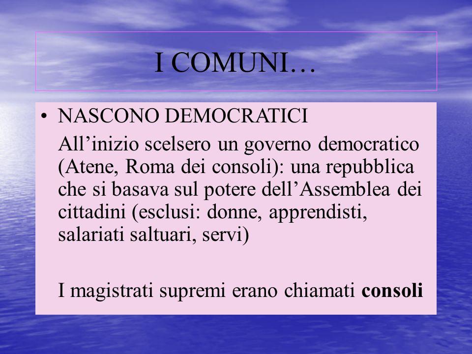 I COMUNI… NASCONO DEMOCRATICI All'inizio scelsero un governo democratico (Atene, Roma dei consoli): una repubblica che si basava sul potere dell'Assem