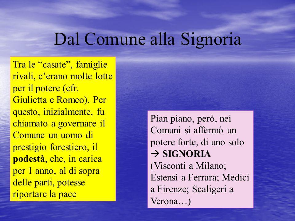"""Dal Comune alla Signoria Tra le """"casate"""", famiglie rivali, c'erano molte lotte per il potere (cfr. Giulietta e Romeo). Per questo, inizialmente, fu ch"""