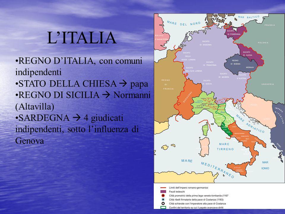 L'ITALIA REGNO D'ITALIA, con comuni indipendenti STATO DELLA CHIESA  papa REGNO DI SICILIA  Normanni (Altavilla) SARDEGNA  4 giudicati indipendenti