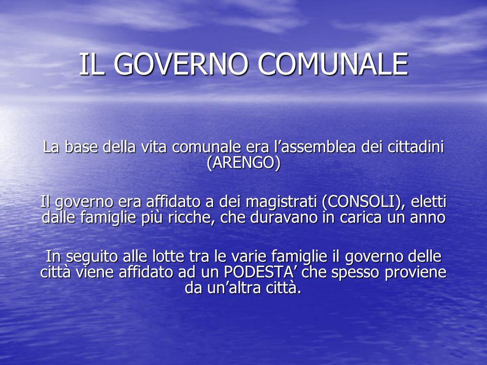 IL GOVERNO COMUNALE La base della vita comunale era l'assemblea dei cittadini (ARENGO) Il governo era affidato a dei magistrati (CONSOLI), eletti dall