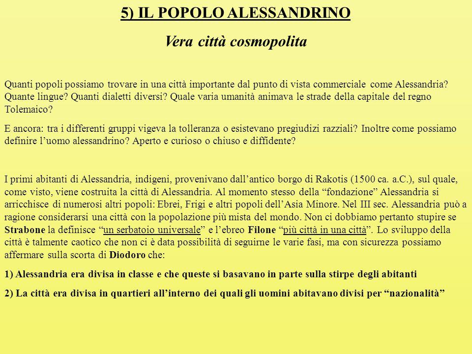5) IL POPOLO ALESSANDRINO Vera città cosmopolita Quanti popoli possiamo trovare in una città importante dal punto di vista commerciale come Alessandria.
