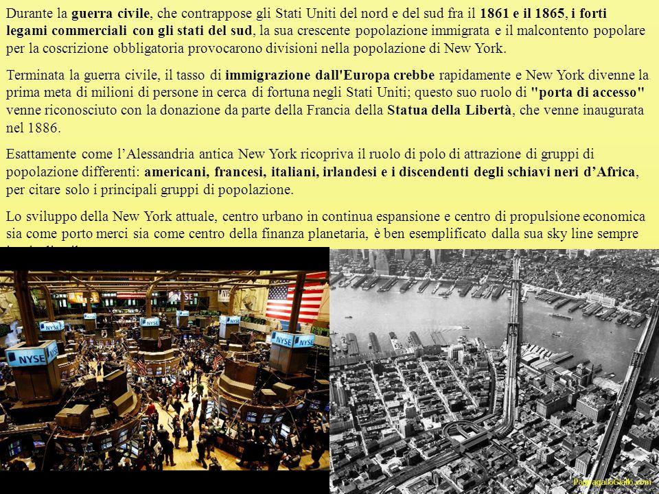 Durante la guerra civile, che contrappose gli Stati Uniti del nord e del sud fra il 1861 e il 1865, i forti legami commerciali con gli stati del sud, la sua crescente popolazione immigrata e il malcontento popolare per la coscrizione obbligatoria provocarono divisioni nella popolazione di New York.