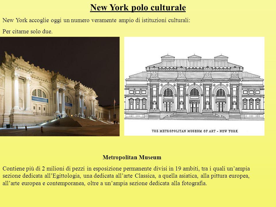 New York polo culturale New York accoglie oggi un numero veramente ampio di istituzioni culturali: Per citarne solo due.