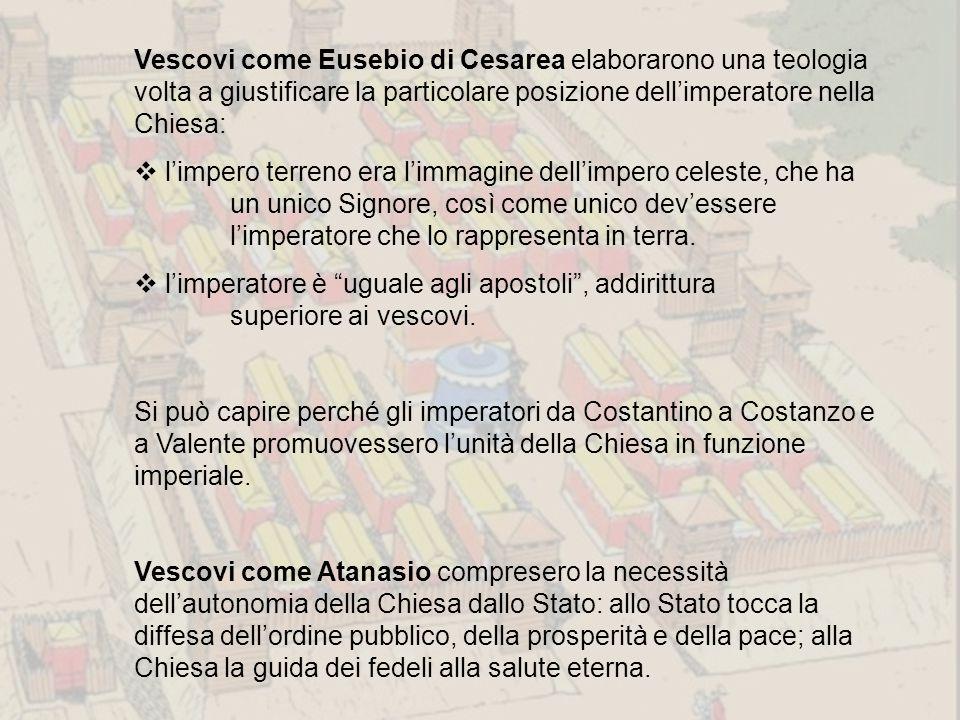 Vescovi come Eusebio di Cesarea elaborarono una teologia volta a giustificare la particolare posizione dell'imperatore nella Chiesa:  l'impero terren