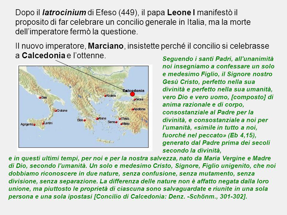 Dopo il latrocinium di Efeso (449), il papa Leone I manifestò il proposito di far celebrare un concilio generale in Italia, ma la morte dell'imperator