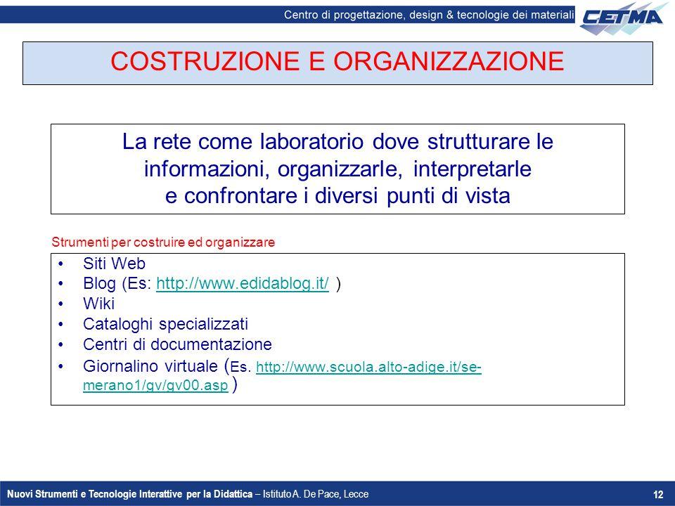 Nuovi Strumenti e Tecnologie Interattive per la Didattica – Istituto A. De Pace, Lecce 12 COSTRUZIONE E ORGANIZZAZIONE Siti Web Blog (Es: http://www.e