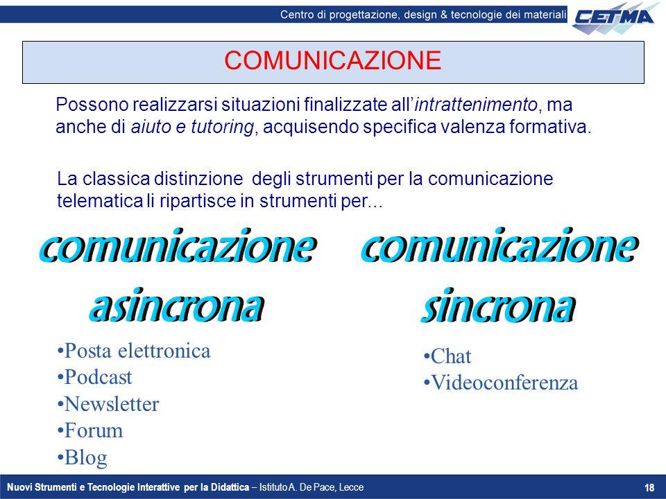 Nuovi Strumenti e Tecnologie Interattive per la Didattica – Istituto A. De Pace, Lecce 18 Possono realizzarsi situazioni finalizzate all'intrattenimen
