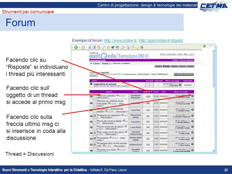 """Nuovi Strumenti e Tecnologie Interattive per la Didattica – Istituto A. De Pace, Lecce 21 Facendo clic su """"Risposte"""" si individuano i thread più inter"""