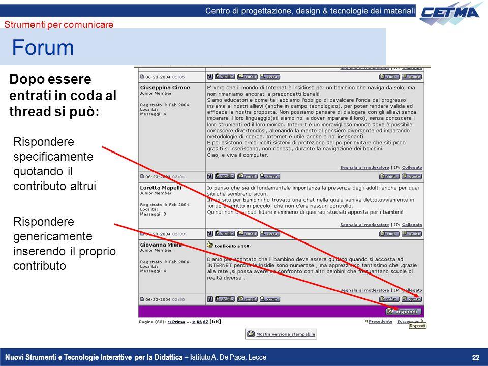 Nuovi Strumenti e Tecnologie Interattive per la Didattica – Istituto A. De Pace, Lecce 22 Dopo essere entrati in coda al thread si può: Rispondere gen