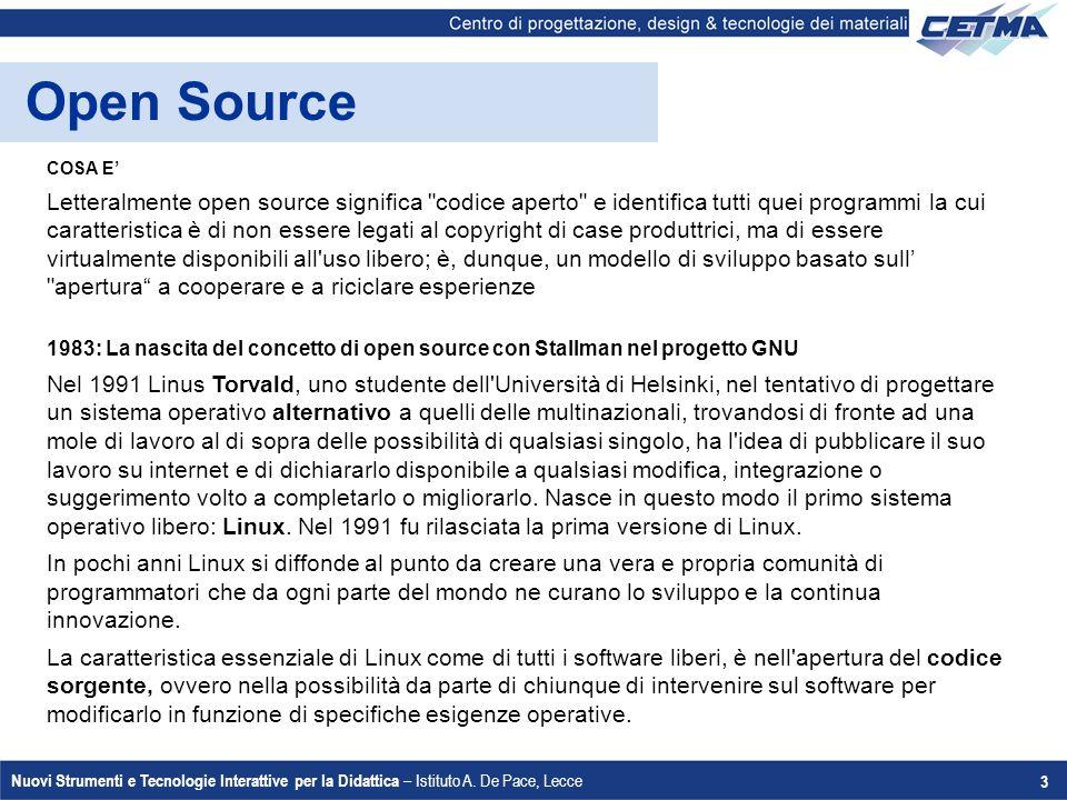 Nuovi Strumenti e Tecnologie Interattive per la Didattica – Istituto A. De Pace, Lecce 3 Open Source COSA E' Letteralmente open source significa