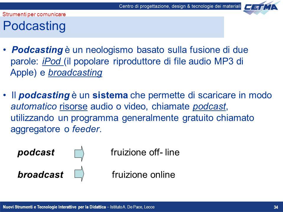 Nuovi Strumenti e Tecnologie Interattive per la Didattica – Istituto A. De Pace, Lecce 34 Podcasting è un neologismo basato sulla fusione di due parol