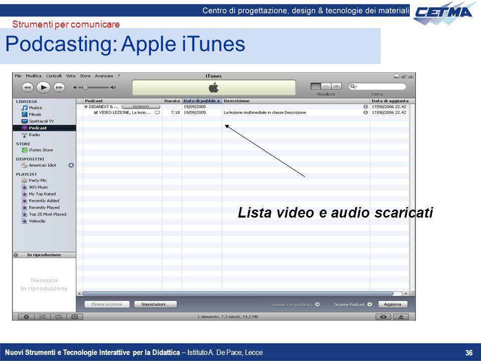 Nuovi Strumenti e Tecnologie Interattive per la Didattica – Istituto A. De Pace, Lecce 36 Podcasting: Apple iTunes Strumenti per comunicare Lista vide