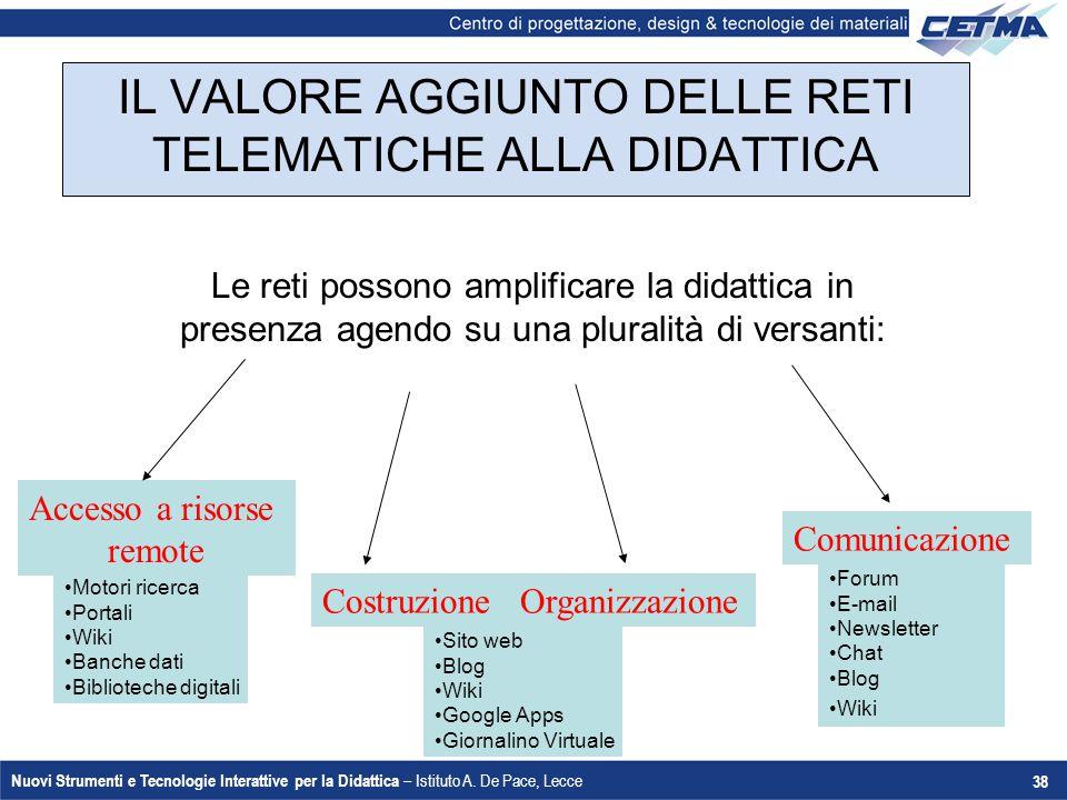 Nuovi Strumenti e Tecnologie Interattive per la Didattica – Istituto A. De Pace, Lecce 38 Accesso a risorse remote Motori ricerca Portali Wiki Banche