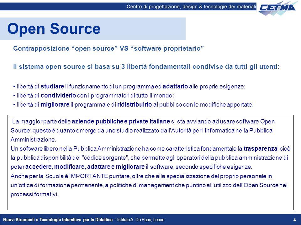 """Nuovi Strumenti e Tecnologie Interattive per la Didattica – Istituto A. De Pace, Lecce 4 Open Source Contrapposizione """"open source"""" VS """"software propr"""
