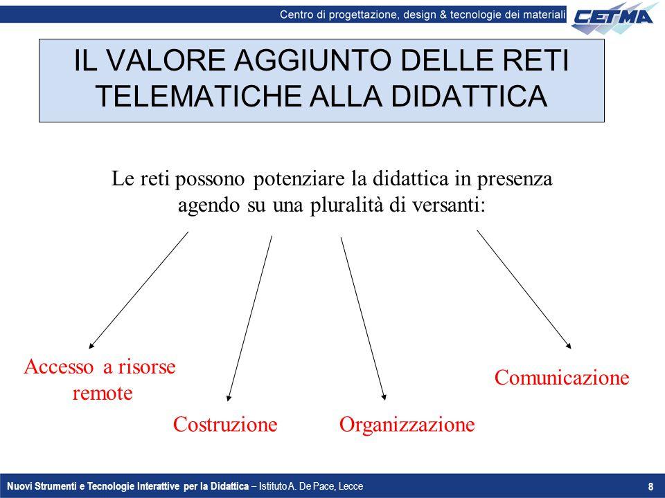 Nuovi Strumenti e Tecnologie Interattive per la Didattica – Istituto A. De Pace, Lecce 8 IL VALORE AGGIUNTO DELLE RETI TELEMATICHE ALLA DIDATTICA Le r