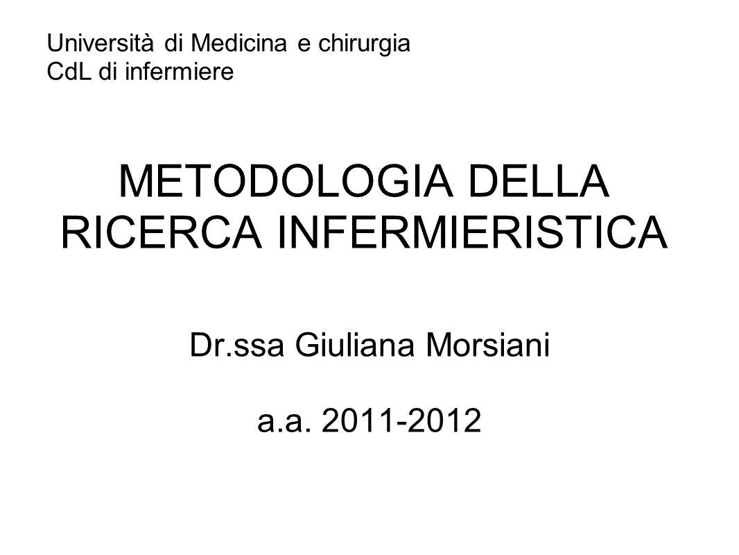 METODOLOGIA DELLA RICERCA INFERMIERISTICA Dr.ssa Giuliana Morsiani a.a.