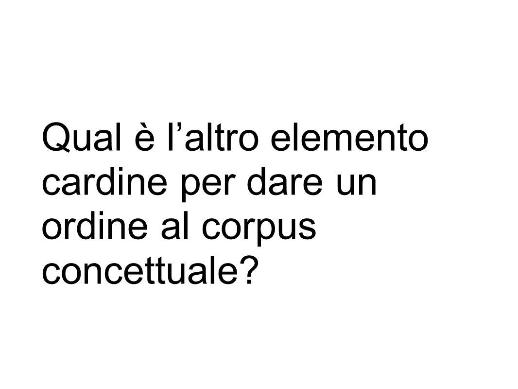 Qual è l'altro elemento cardine per dare un ordine al corpus concettuale?