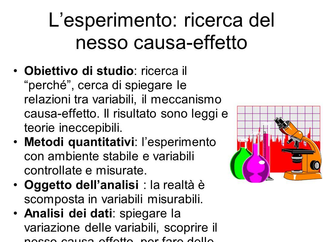 L'esperimento: ricerca del nesso causa-effetto Obiettivo di studio: ricerca il perché , cerca di spiegare le relazioni tra variabili, il meccanismo causa-effetto.
