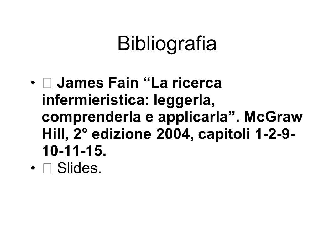 Bibliografia  James Fain La ricerca infermieristica: leggerla, comprenderla e applicarla .