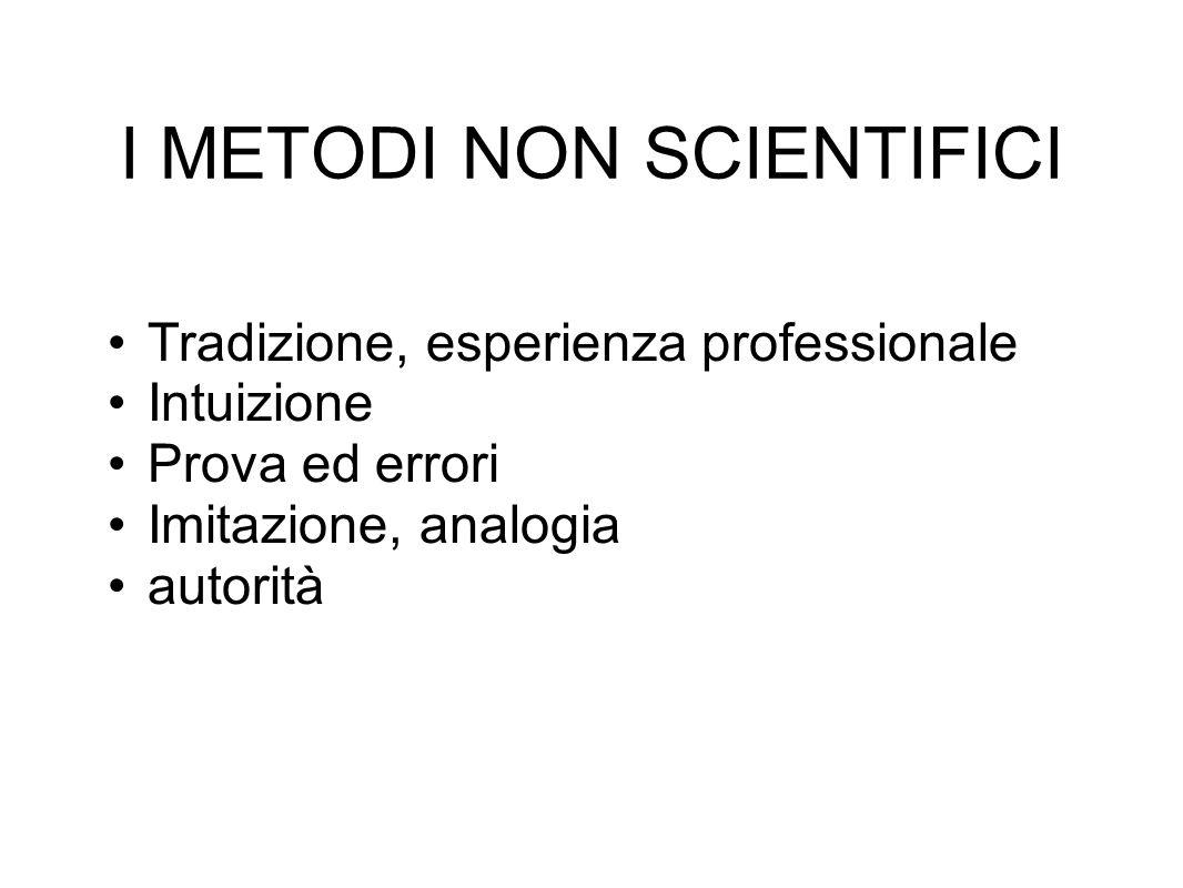 I METODI NON SCIENTIFICI Tradizione, esperienza professionale Intuizione Prova ed errori Imitazione, analogia autorità