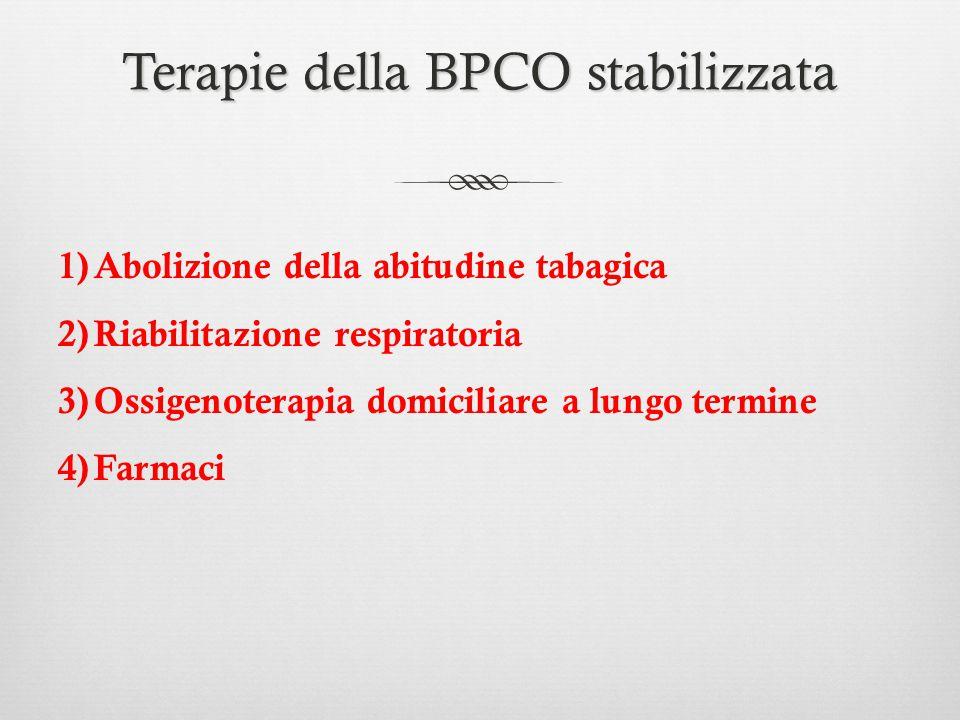 Terapie della BPCO stabilizzata 1)Abolizione della abitudine tabagica 2)Riabilitazione respiratoria 3)Ossigenoterapia domiciliare a lungo termine 4)Fa