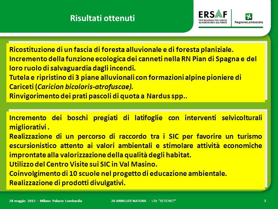 20 ANNI LIFE NATURA - Life RETICNET 2 28 maggio 2012 - Milano Palazzo Lombardia Risultati ottenuti Ricostituzione di un fascia di foresta alluvionale e di foresta planiziale.