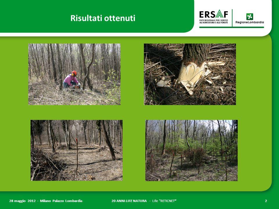 20 ANNI LIFE NATURA - Life RETICNET 2 28 maggio 2012 - Milano Palazzo Lombardia Risultati ottenuti