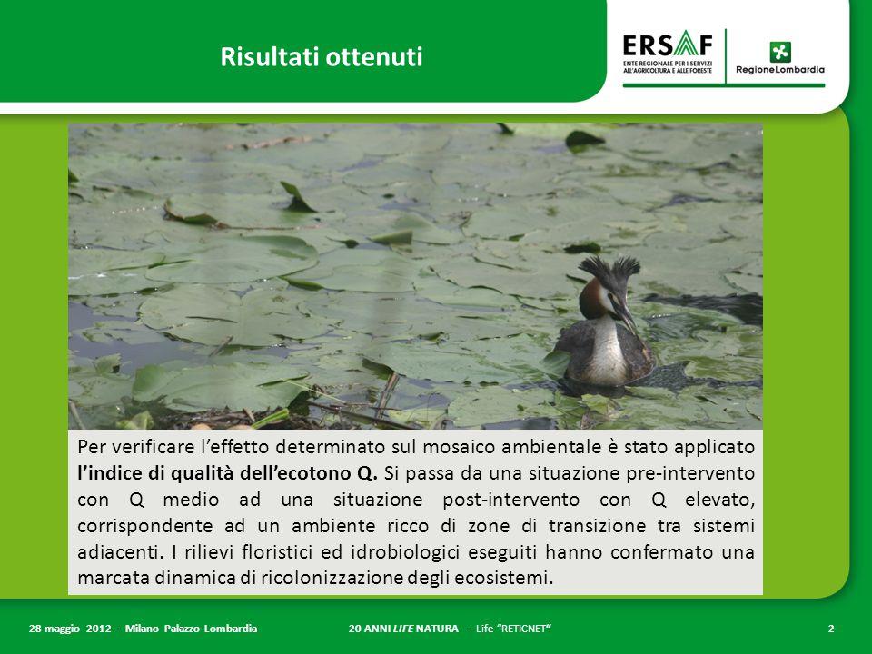 20 ANNI LIFE NATURA - Life RETICNET 2 28 maggio 2012 - Milano Palazzo Lombardia Risultati ottenuti Per verificare l'effetto determinato sul mosaico ambientale è stato applicato l'indice di qualità dell'ecotono Q.