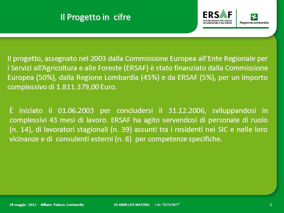 20 ANNI LIFE NATURA - Life RETICNET 2 28 maggio 2012 - Milano Palazzo Lombardia Il Progetto in cifre Il progetto, assegnato nel 2003 dalla Commissione Europea all'Ente Regionale per i Servizi all'Agricoltura e alle Foreste (ERSAF) è stato finanziato dalla Commissione Europea (50%), dalla Regione Lombardia (45%) e da ERSAF (5%), per un importo complessivo di 1.811.379,00 Euro.