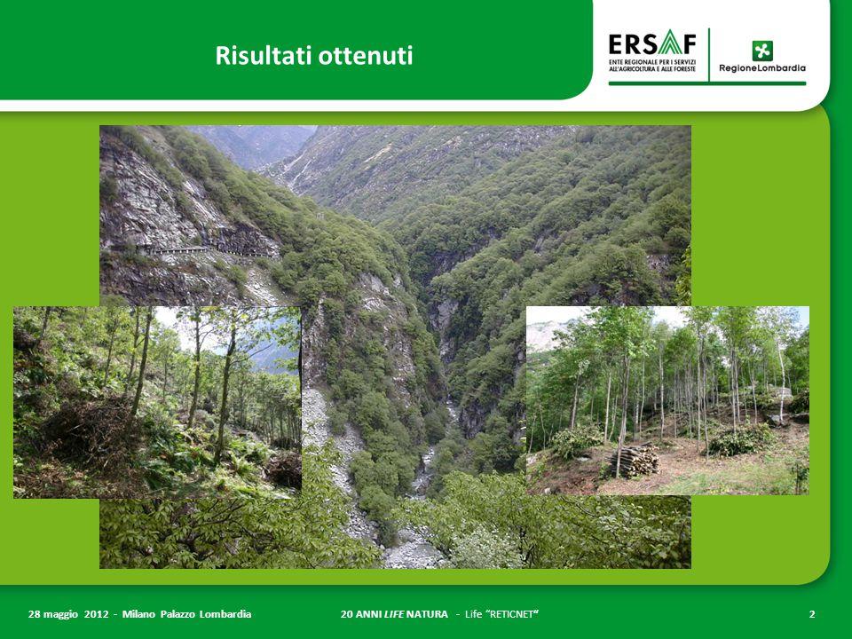 """20 ANNI LIFE NATURA - Life """"RETICNET""""2 28 maggio 2012 - Milano Palazzo Lombardia Risultati ottenuti"""