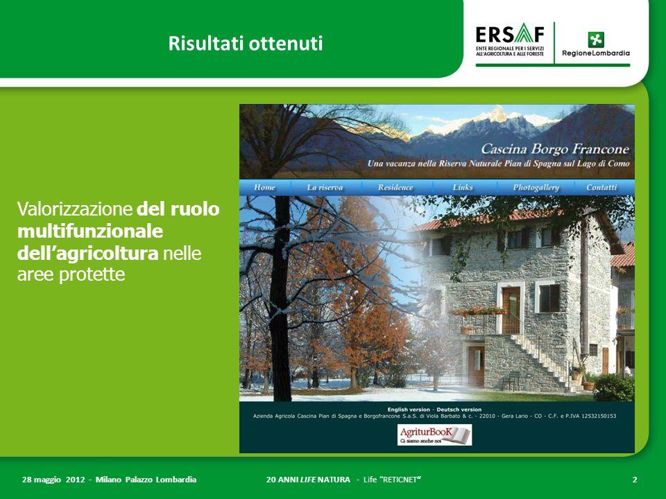 20 ANNI LIFE NATURA - Life RETICNET 2 28 maggio 2012 - Milano Palazzo Lombardia Risultati ottenuti Valorizzazione del ruolo multifunzionale dell'agricoltura nelle aree protette