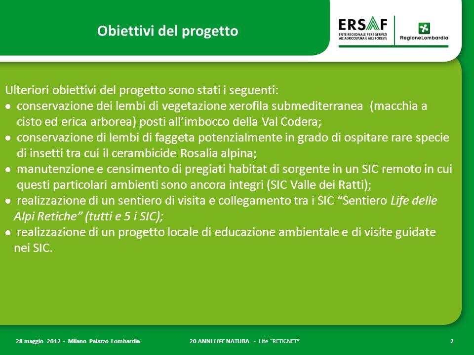 """20 ANNI LIFE NATURA - Life """"RETICNET""""2 28 maggio 2012 - Milano Palazzo Lombardia Obiettivi del progetto Ulteriori obiettivi del progetto sono stati i"""