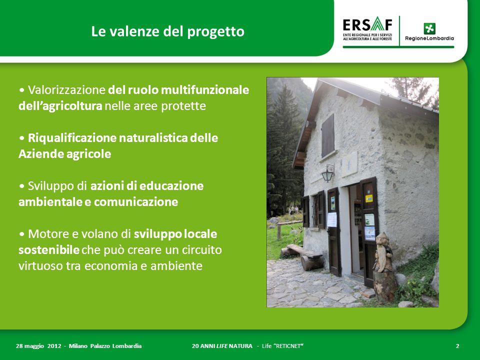 """20 ANNI LIFE NATURA - Life """"RETICNET""""2 28 maggio 2012 - Milano Palazzo Lombardia Valorizzazione del ruolo multifunzionale dell'agricoltura nelle aree"""
