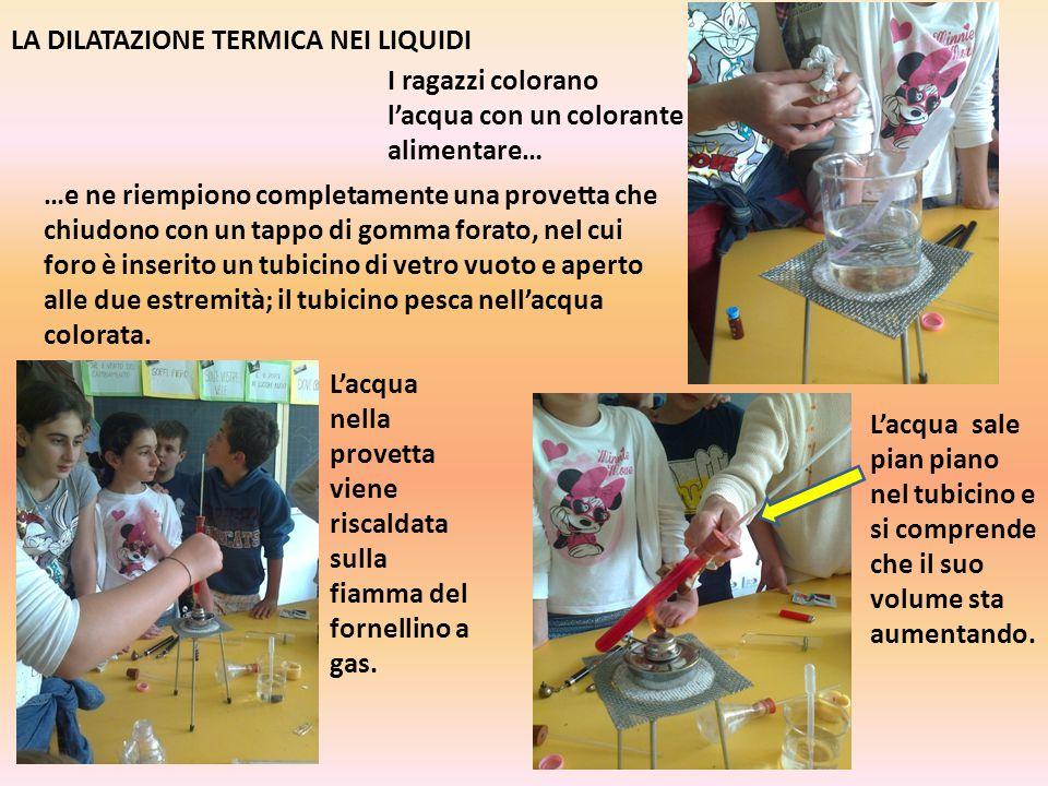 LA DILATAZIONE TERMICA NEI LIQUIDI I ragazzi colorano l'acqua con un colorante alimentare… …e ne riempiono completamente una provetta che chiudono con