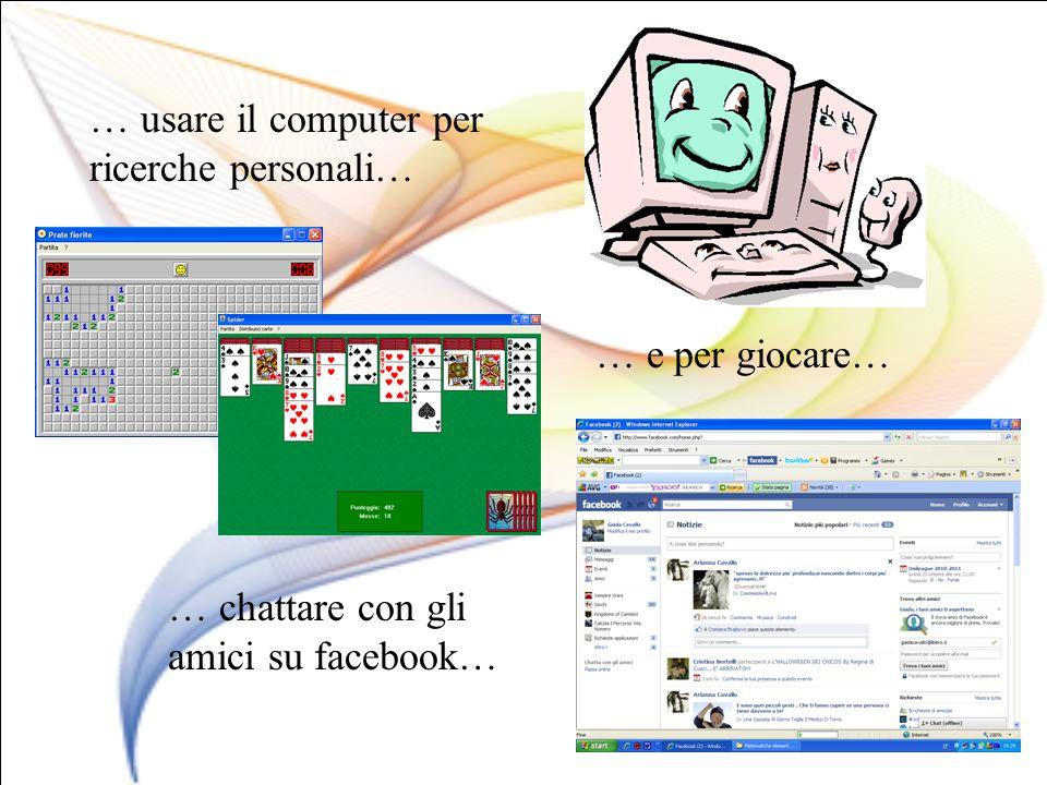 … usare il computer per ricerche personali… … chattare con gli amici su facebook… … e per giocare…