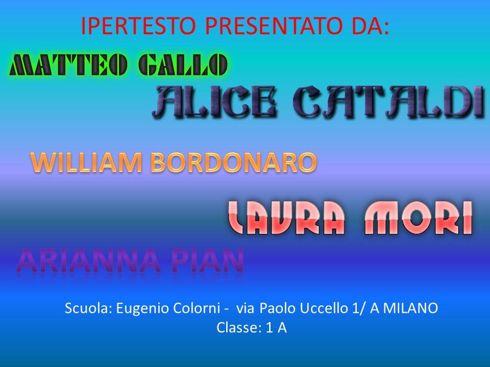 IPERTESTO PRESENTATO DA: Scuola: Eugenio Colorni - via Paolo Uccello 1/ A MILANO Classe: 1 A