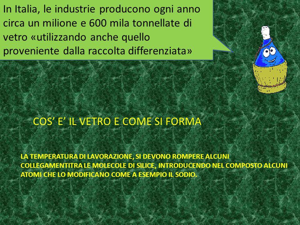 In Italia, le industrie producono ogni anno circa un milione e 600 mila tonnellate di vetro «utilizzando anche quello proveniente dalla raccolta diffe