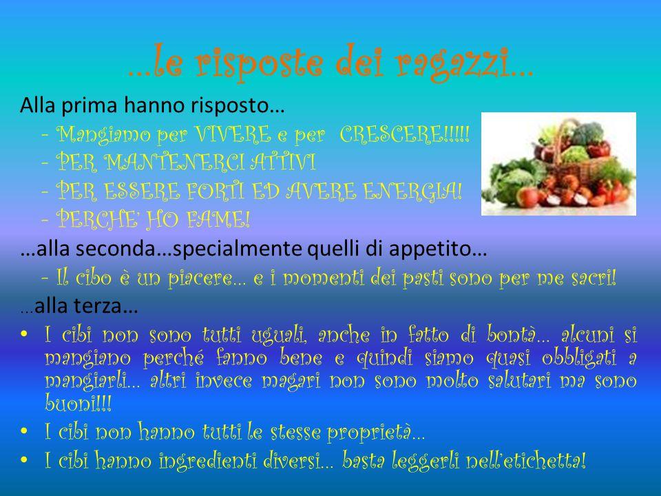 …le risposte dei ragazzi… Alla prima hanno risposto… - Mangiamo per VIVERE e per CRESCERE!!!!.