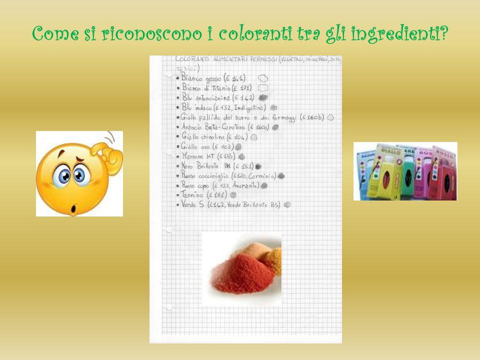 Come si riconoscono i coloranti tra gli ingredienti?