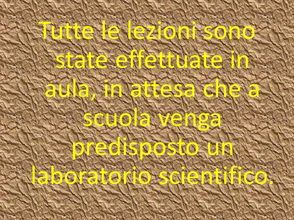 Tutte le lezioni sono state effettuate in aula, in attesa che a scuola venga predisposto un laboratorio scientifico.