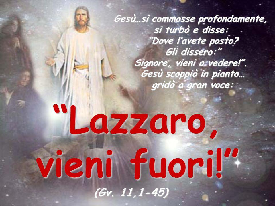 """""""Lazzaro, vieni fuori!"""" Gesù…si commosse profondamente, si turbò e disse: """"Dove l'avete posto? Gli dissero:"""" Signore, vieni a vedere!"""". Gesù scoppiò i"""