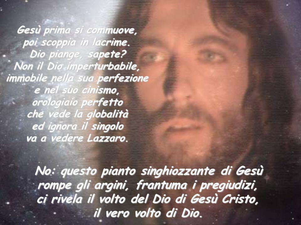 Gesù prima si commuove, poi scoppia in lacrime. Dio piange, sapete? Non il Dio imperturbabile, immobile nella sua perfezione e nel suo cinismo, orolog