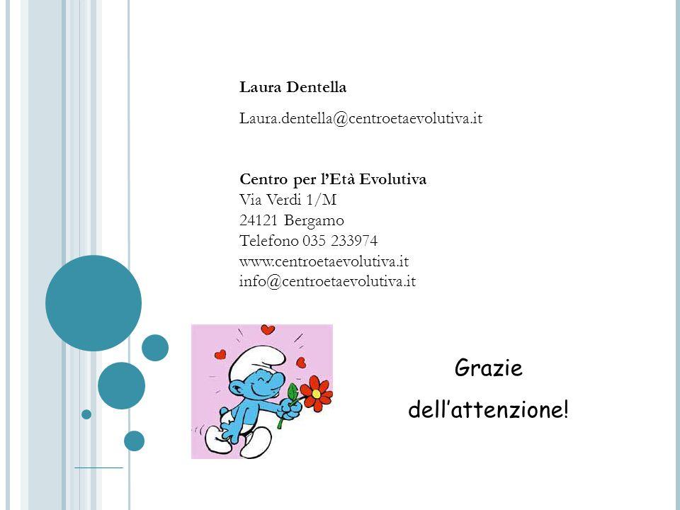 Laura Dentella Laura.dentella@centroetaevolutiva.it Centro per l'Età Evolutiva Via Verdi 1/M 24121 Bergamo Telefono 035 233974 www.centroetaevolutiva.it info@centroetaevolutiva.it Grazie dell'attenzione!
