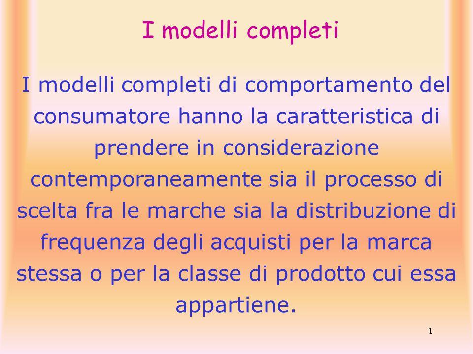 1 I modelli completi I modelli completi di comportamento del consumatore hanno la caratteristica di prendere in considerazione contemporaneamente sia il processo di scelta fra le marche sia la distribuzione di frequenza degli acquisti per la marca stessa o per la classe di prodotto cui essa appartiene.