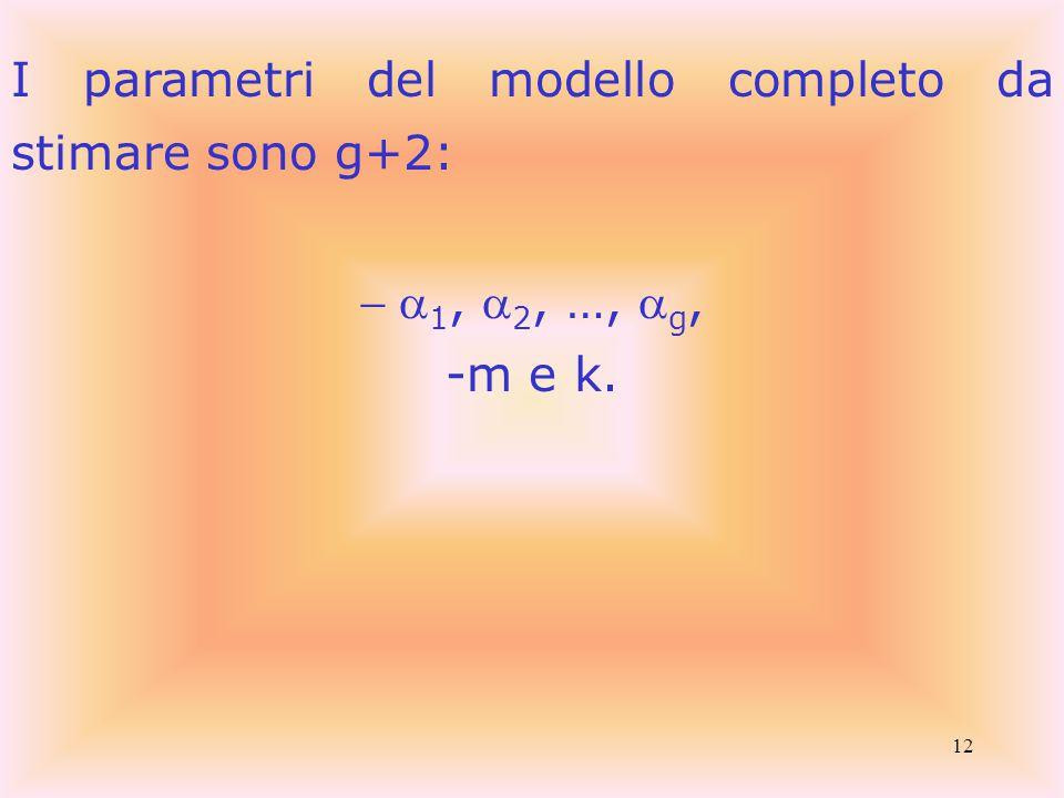 12 I parametri del modello completo da stimare sono g+2:  1,  2, …,  g, -m e k.