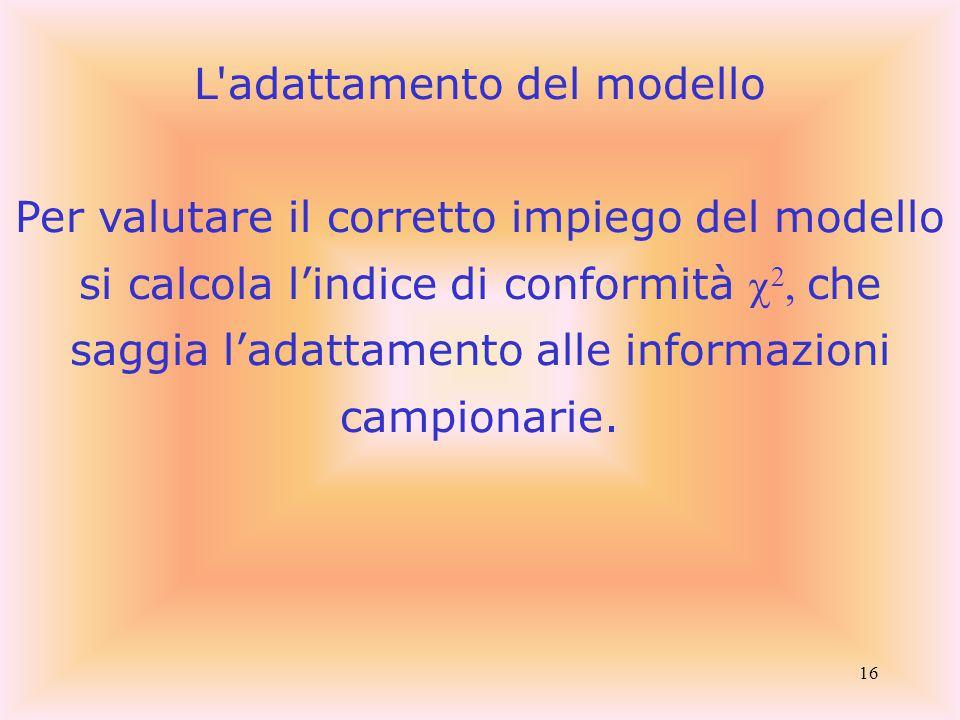 16 L adattamento del modello Per valutare il corretto impiego del modello si calcola l'indice di conformità   che saggia l'adattamento alle informazioni campionarie.