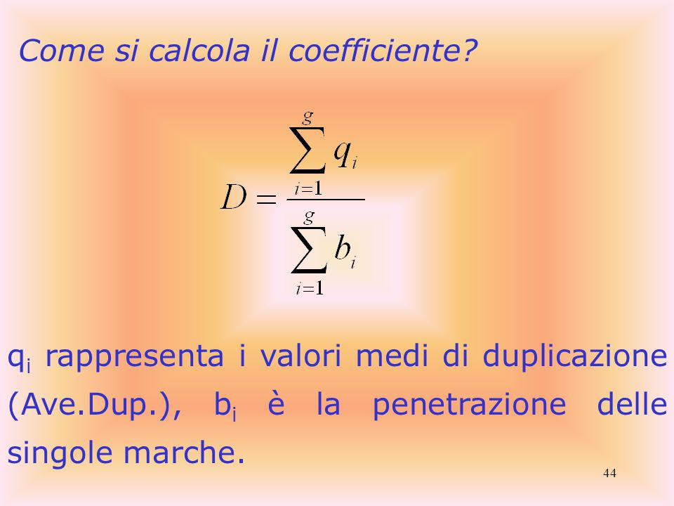 44 Come si calcola il coefficiente.