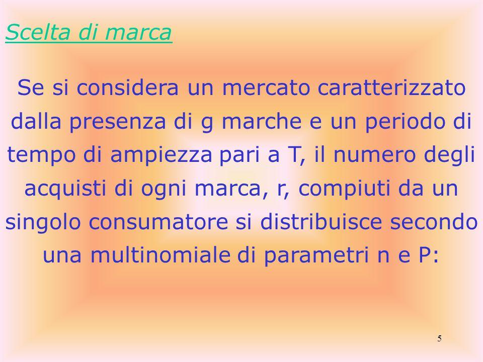 5 Scelta di marca Se si considera un mercato caratterizzato dalla presenza di g marche e un periodo di tempo di ampiezza pari a T, il numero degli acquisti di ogni marca, r, compiuti da un singolo consumatore si distribuisce secondo una multinomiale di parametri n e P: