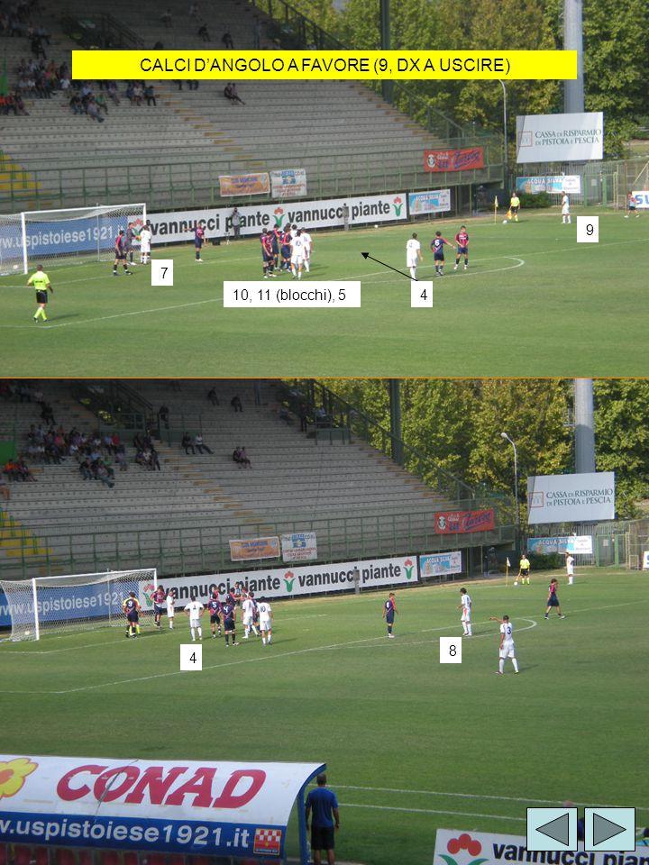 CALCI D'ANGOLO A FAVORE (9, DX A USCIRE) 10, 11 (blocchi), 54 7 9 4 8