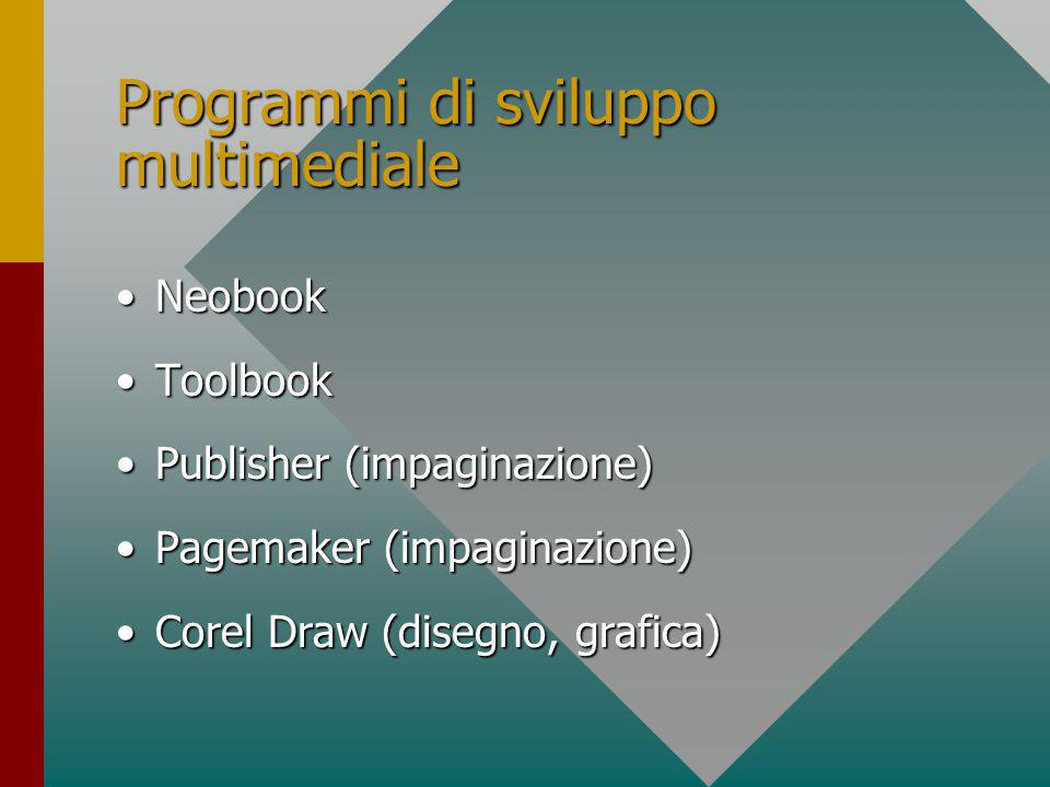 Software Programmi di sviluppoProgrammi di sviluppo –Visual C –Visual Basic –HTML (Hiper Text Markup Language) –Java